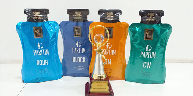 Zed Black Parfum Shaped Zipper Pouch bags  the prestigious IFCA award